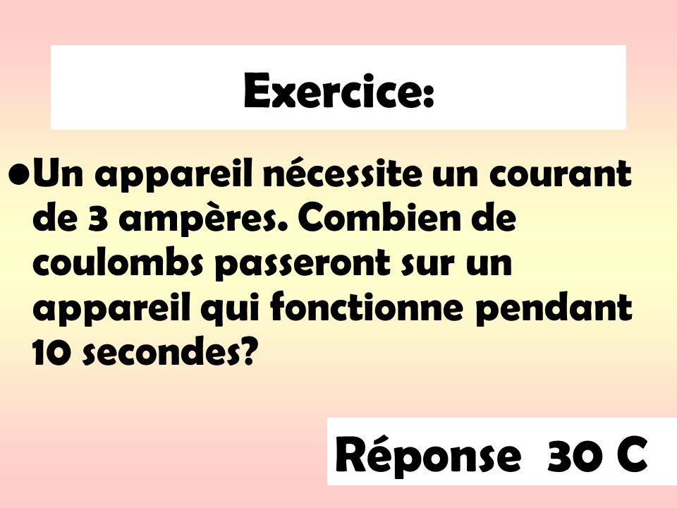 Exercice: Un appareil nécessite un courant de 3 ampères.