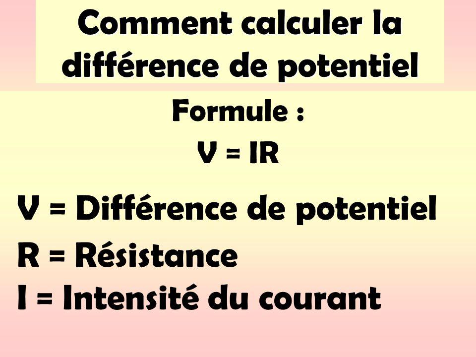 Comment calculer la différence de potentiel Formule : V = IR V = Différence de potentiel R = Résistance I = Intensité du courant