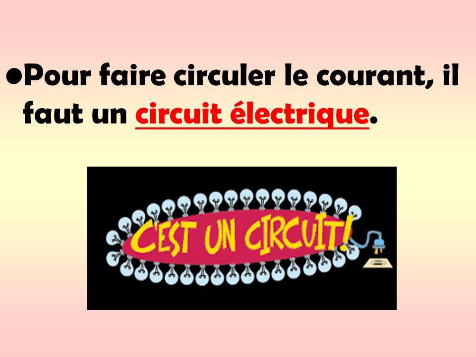 Pour faire circuler le courant, il faut un circuit électrique.