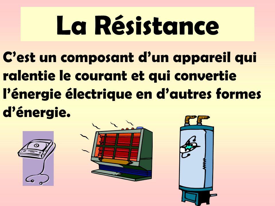 La Résistance Cest un composant dun appareil qui ralentie le courant et qui convertie lénergie électrique en dautres formes dénergie.