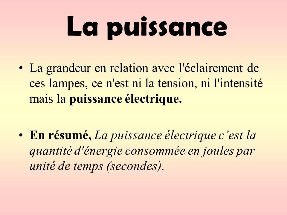 La grandeur en relation avec l éclairement de ces lampes, ce n est ni la tension, ni l intensité mais la puissance électrique.