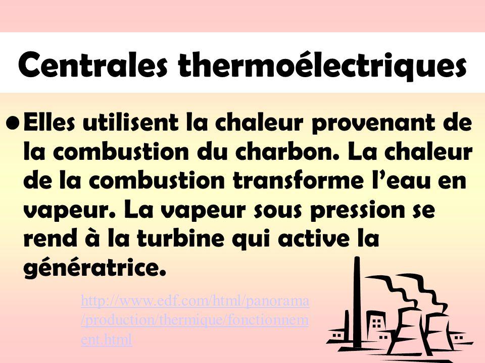 Centrales thermoélectriques Elles utilisent la chaleur provenant de la combustion du charbon. La chaleur de la combustion transforme leau en vapeur. L