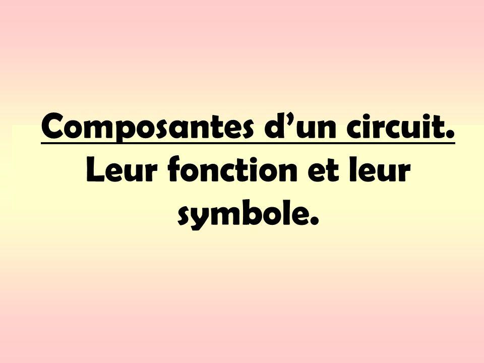 Composantes dun circuit. Leur fonction et leur symbole.
