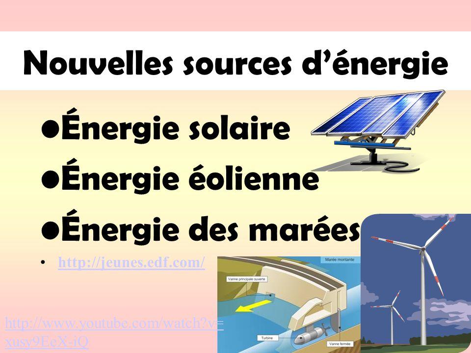 Nouvelles sources dénergie Énergie solaire Énergie éolienne Énergie des marées http://jeunes.edf.com/ http://www.youtube.com/watch?v= xusy9EeX-iQ