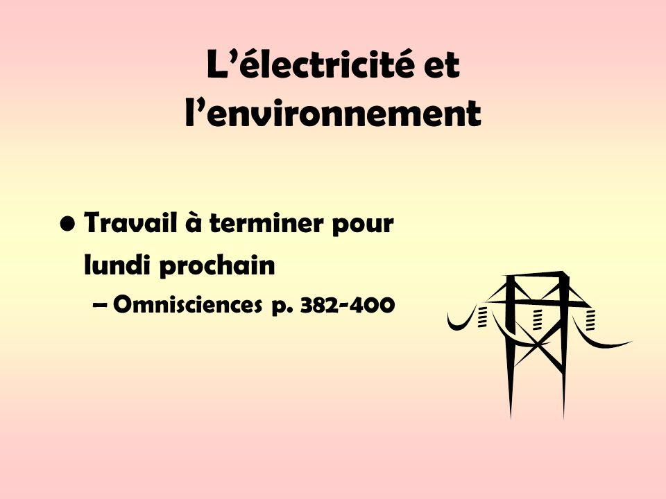Lélectricité et lenvironnement Travail à terminer pour lundi prochain –Omnisciences p. 382-400