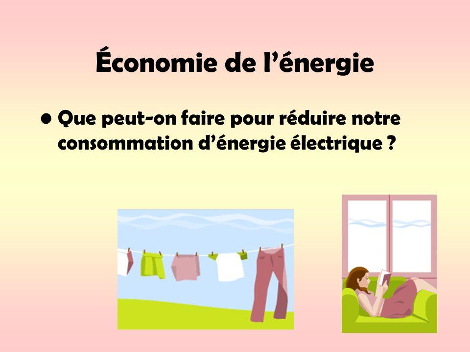 Économie de lénergie Que peut-on faire pour réduire notre consommation dénergie électrique ?