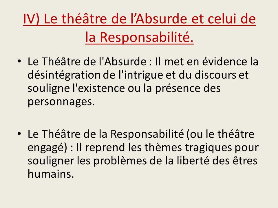 IV) Le théâtre de lAbsurde et celui de la Responsabilité. Le Théâtre de l'Absurde : Il met en évidence la désintégration de l'intrigue et du discours