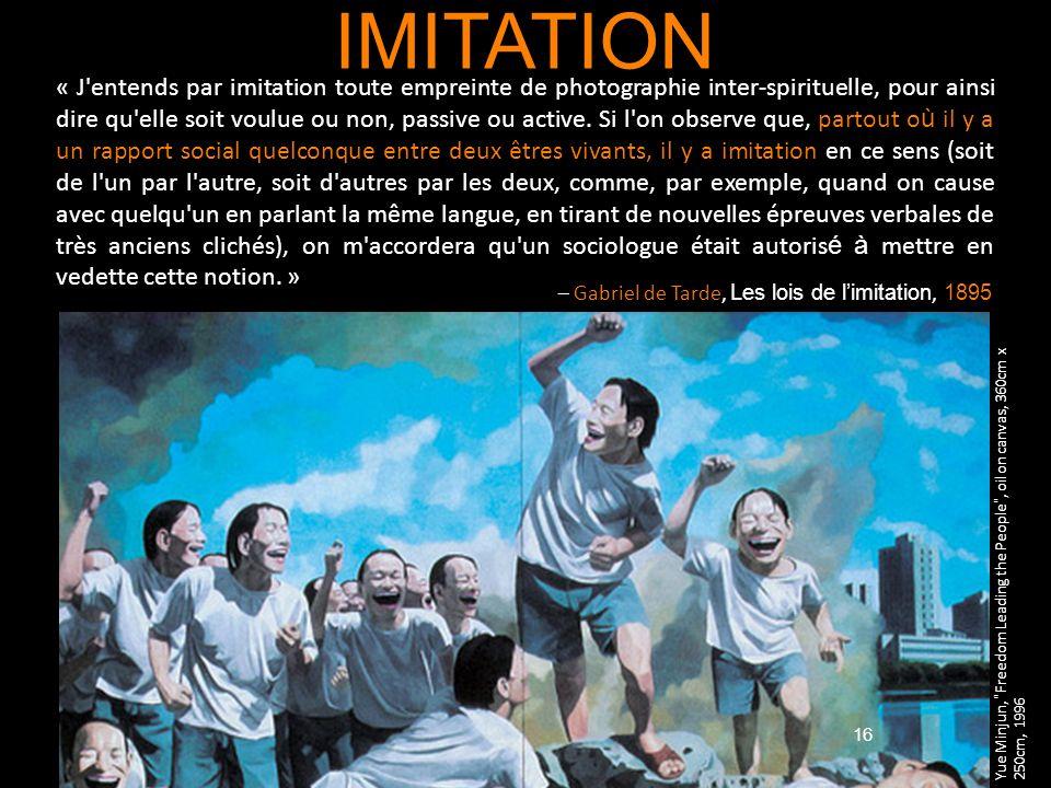 16 IMITATION « J'entends par imitation toute empreinte de photographie inter-spirituelle, pour ainsi dire qu'elle soit voulue ou non, passive ou activ