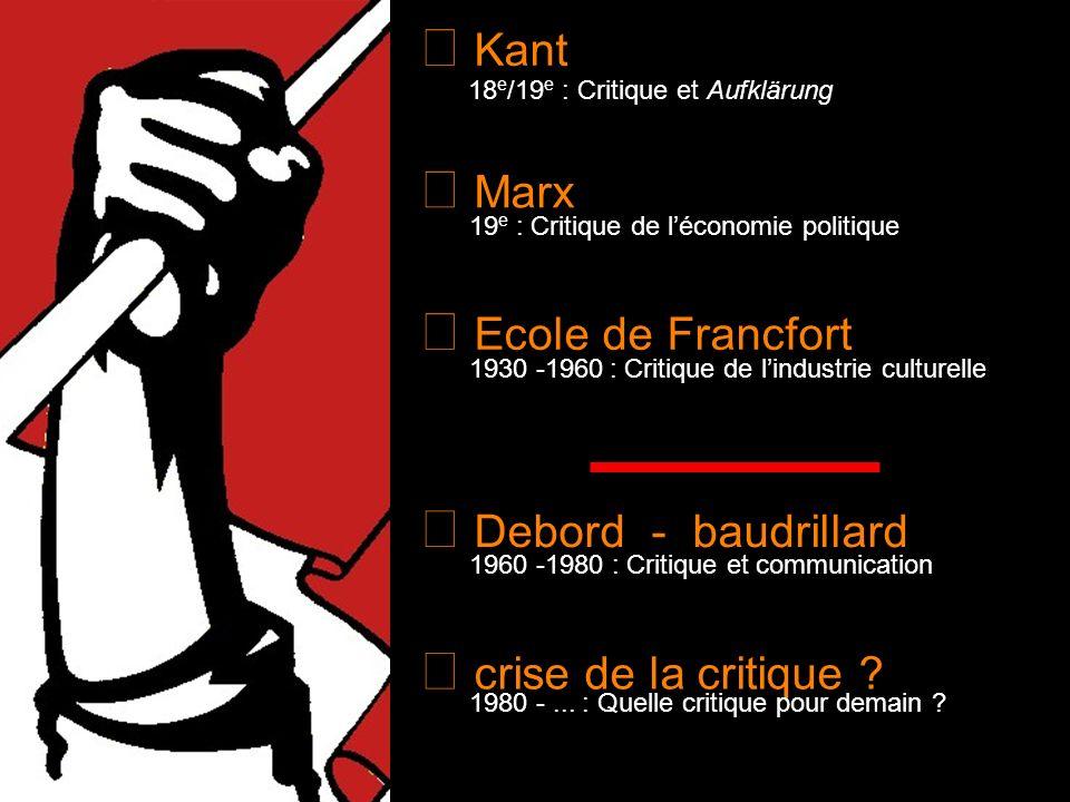 Kant Marx Ecole de Francfort Debord - baudrillard crise de la critique ? 18 e /19 e : Critique et Aufklärung 19 e : Critique de léconomie politique 19