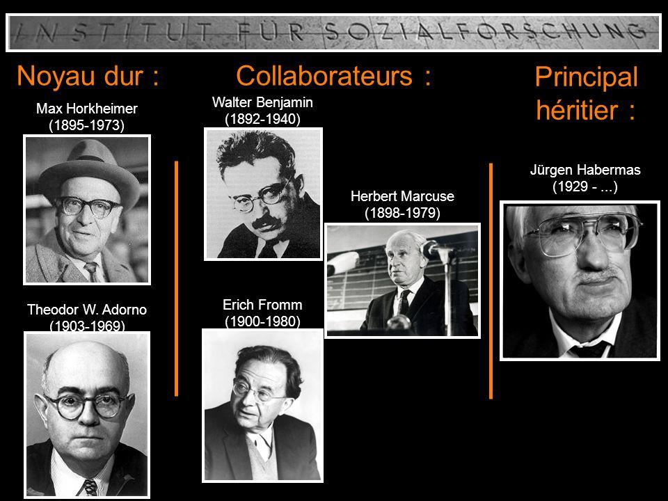 Noyau dur : Collaborateurs : Principal héritier : Max Horkheimer (1895-1973) Theodor W. Adorno (1903-1969) Walter Benjamin (1892-1940) Herbert Marcuse