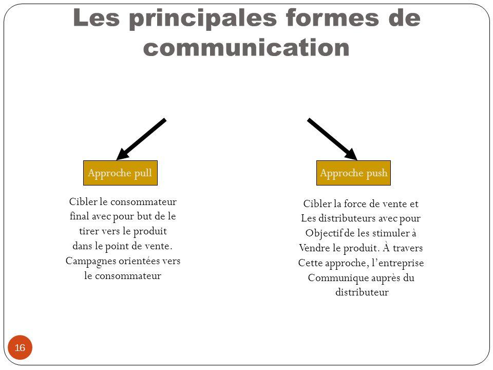 16 Les principales formes de communication Approche pullApproche push Cibler le consommateur final avec pour but de le tirer vers le produit dans le p