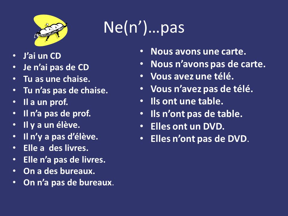 Ne(n)…pas Jai un CD Je nai pas de CD Tu as une chaise.