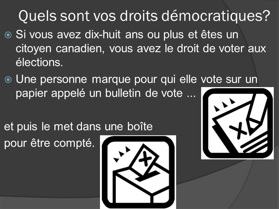 Quels sont vos droits démocratiques.