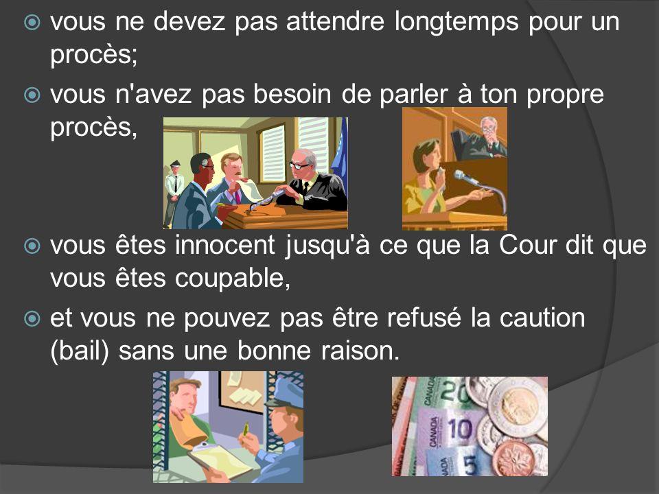vous ne devez pas attendre longtemps pour un procès; vous n avez pas besoin de parler à ton propre procès, vous êtes innocent jusqu à ce que la Cour dit que vous êtes coupable, et vous ne pouvez pas être refusé la caution (bail) sans une bonne raison.