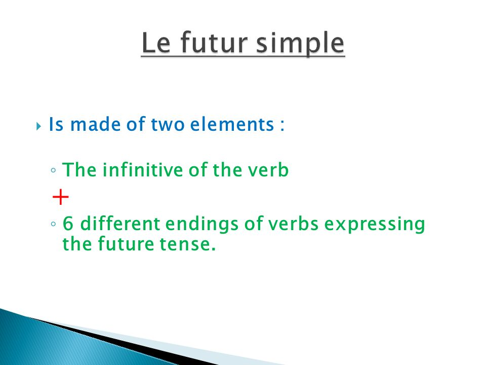 Is made of two elements : The infinitive of the verb + 6 different endings of verbs expressing the future tense.