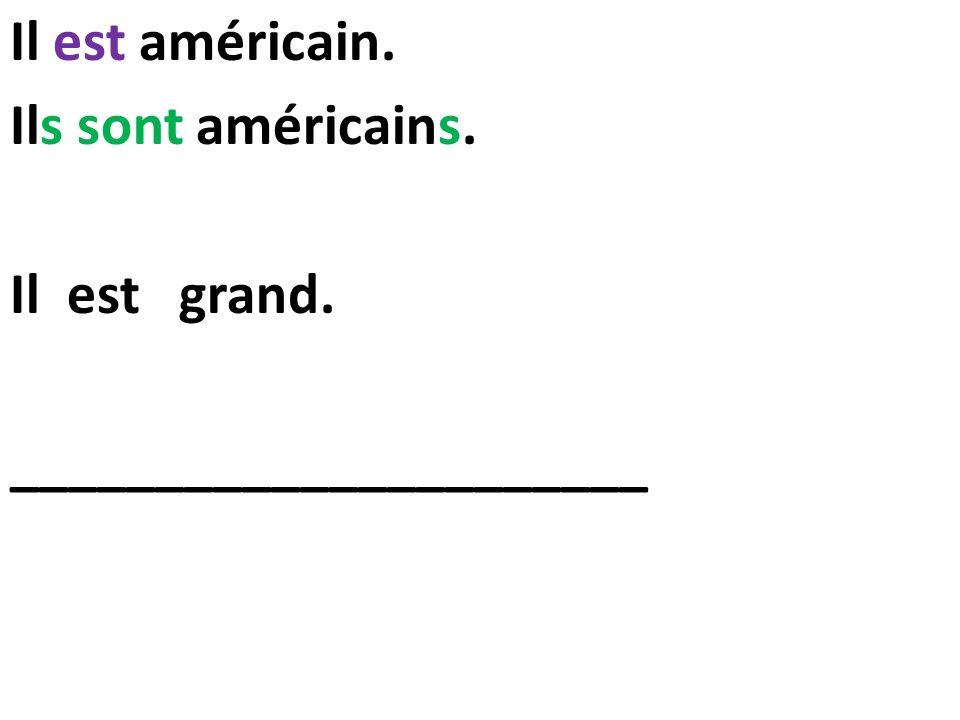 Il est américain. Ils sont américains. Il est grand. ______________________