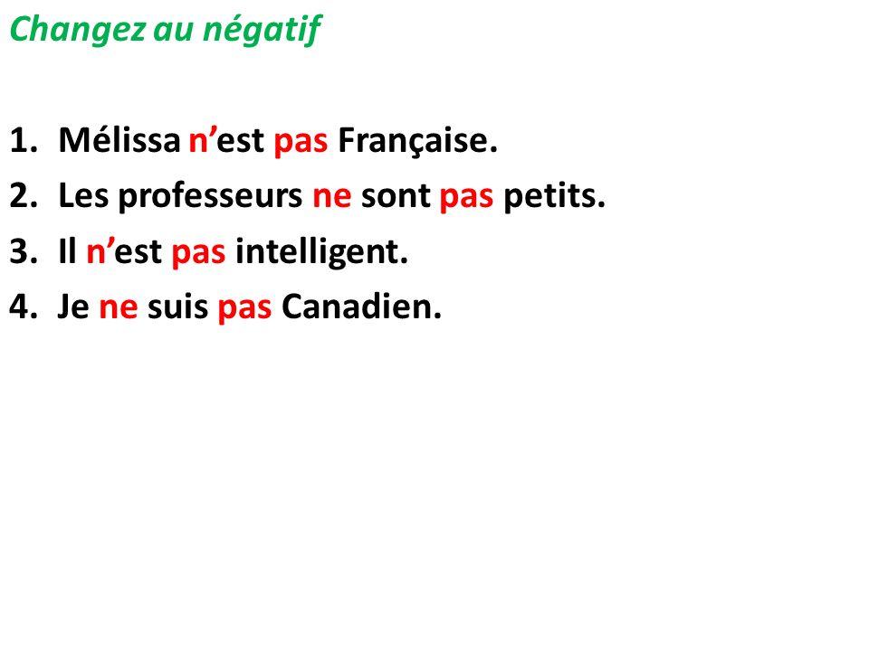 Changez au négatif 1.Mélissa nest pas Française. 2.Les professeurs ne sont pas petits. 3.Il nest pas intelligent. 4.Je ne suis pas Canadien.