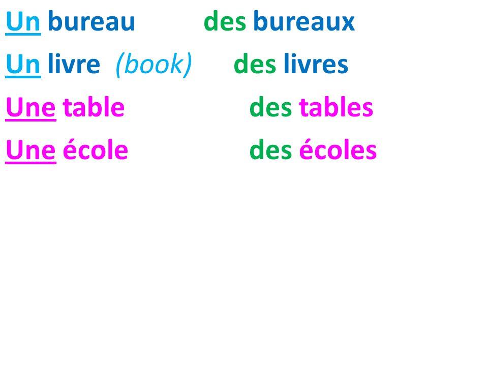 Un bureau des bureaux Un livre (book) des livres Une tabledes tables Une écoledes écoles