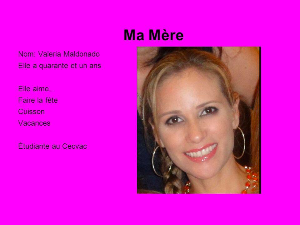 Ma Mère Nom: Valeria Maldonado Elle a quarante et un ans Elle aime...