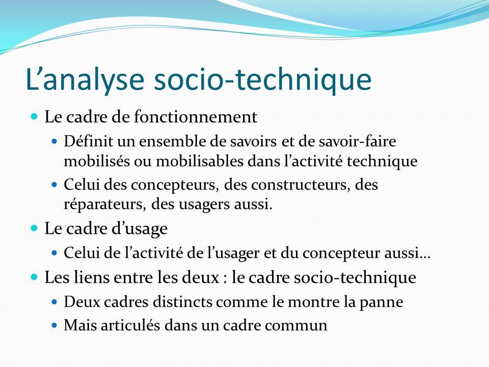 Lanalyse socio-technique Le cadre de fonctionnement Définit un ensemble de savoirs et de savoir-faire mobilisés ou mobilisables dans lactivité techniq