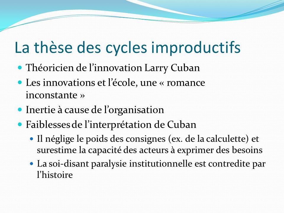 La thèse des cycles improductifs Théoricien de linnovation Larry Cuban Les innovations et lécole, une « romance inconstante » Inertie à cause de lorga