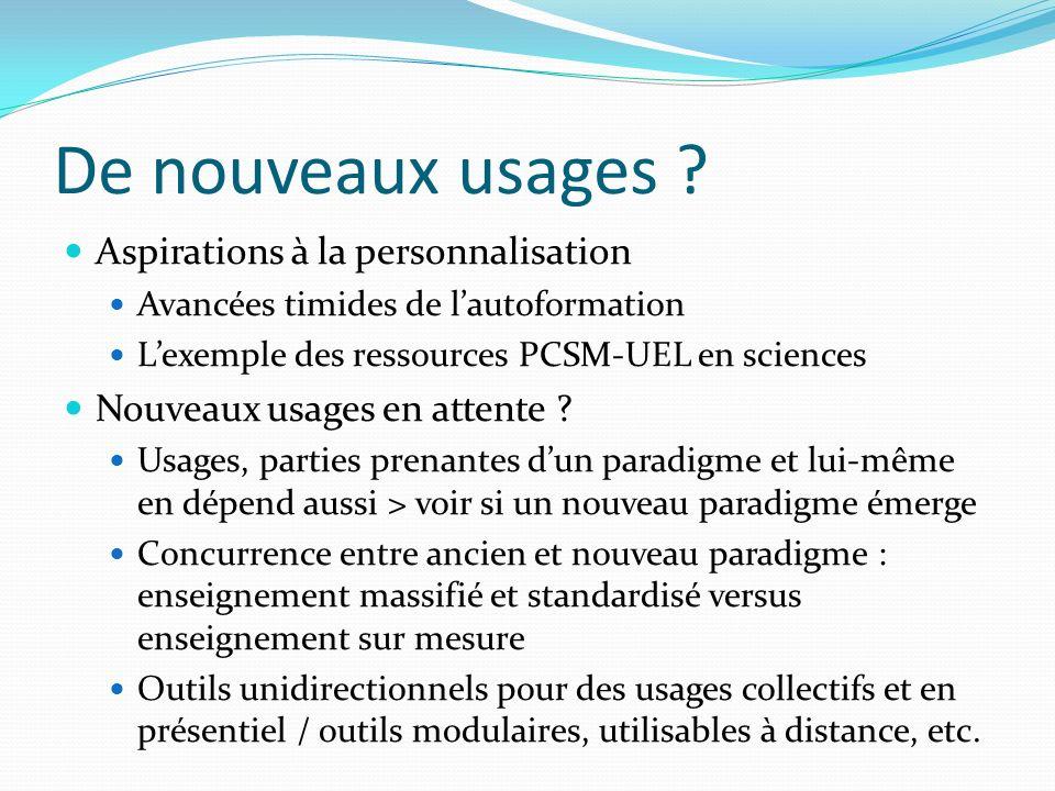 De nouveaux usages ? Aspirations à la personnalisation Avancées timides de lautoformation Lexemple des ressources PCSM-UEL en sciences Nouveaux usages