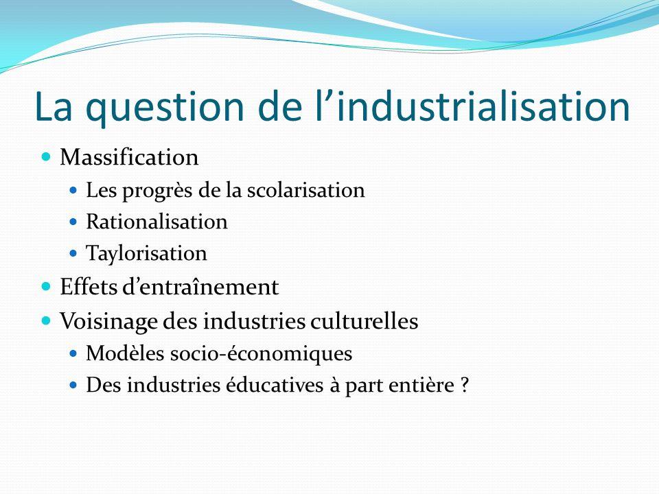 La question de lindustrialisation Massification Les progrès de la scolarisation Rationalisation Taylorisation Effets dentraînement Voisinage des indus