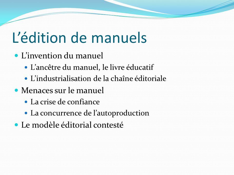Lédition de manuels Linvention du manuel Lancêtre du manuel, le livre éducatif Lindustrialisation de la chaîne éditoriale Menaces sur le manuel La cri