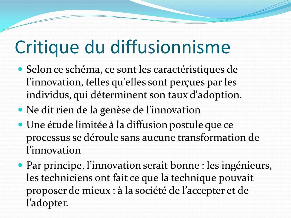 Critique du diffusionnisme Selon ce schéma, ce sont les caractéristiques de l'innovation, telles qu'elles sont perçues par les individus, qui détermin