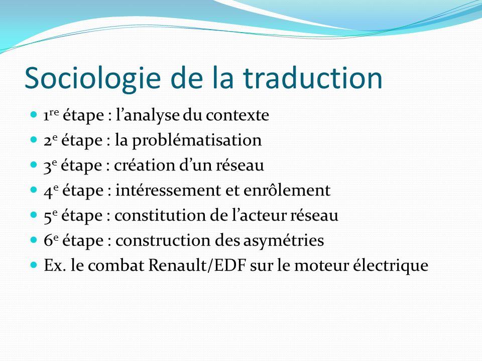 Sociologie de la traduction 1 re étape : lanalyse du contexte 2 e étape : la problématisation 3 e étape : création dun réseau 4 e étape : intéressemen