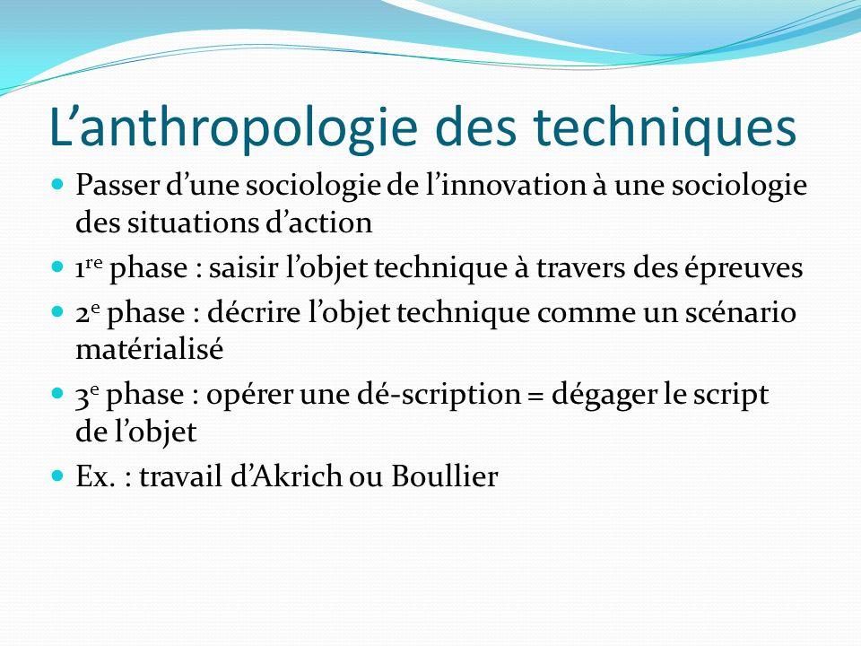 Lanthropologie des techniques Passer dune sociologie de linnovation à une sociologie des situations daction 1 re phase : saisir lobjet technique à tra