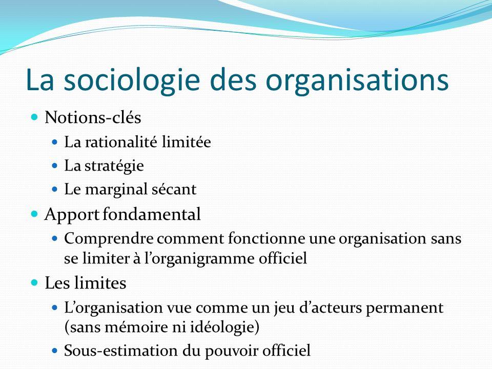 La sociologie des organisations Notions-clés La rationalité limitée La stratégie Le marginal sécant Apport fondamental Comprendre comment fonctionne u
