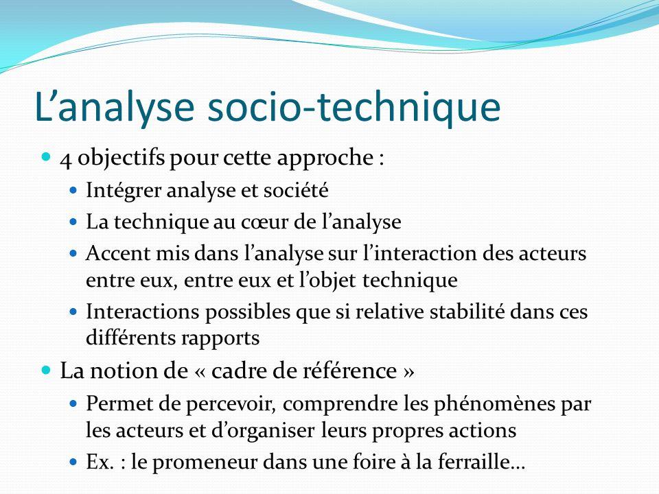 Lanalyse socio-technique 4 objectifs pour cette approche : Intégrer analyse et société La technique au cœur de lanalyse Accent mis dans lanalyse sur l