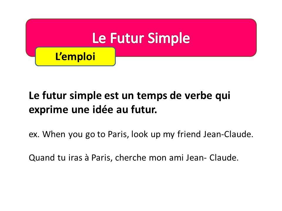 Lemploi Le futur simple est un temps de verbe qui exprime une idée au futur.