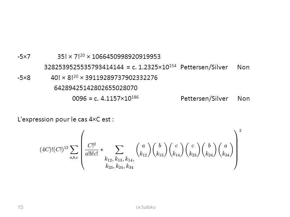 -5×7 35! × 7! 20 × 1066450998920919953 3282539525535793414144 = c. 1.2325×10 154 Pettersen/Silver Non -5×8 40! × 8! 20 × 39119289737902332276 64289425