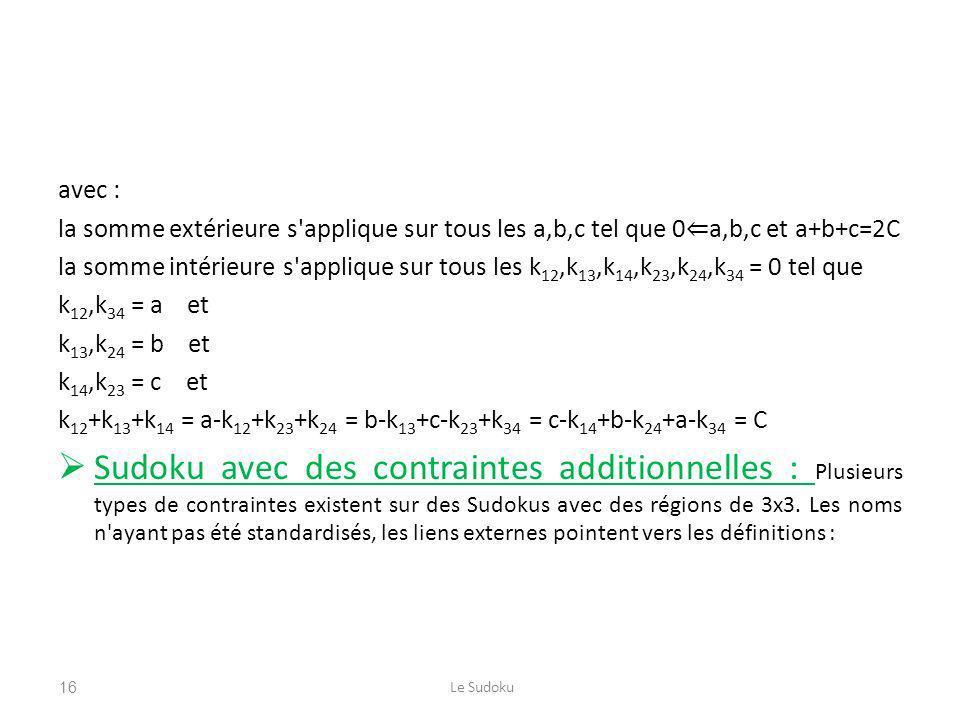 avec : la somme extérieure s'applique sur tous les a,b,c tel que 0 a,b,c et a+b+c=2C la somme intérieure s'applique sur tous les k 12,k 13,k 14,k 23,k