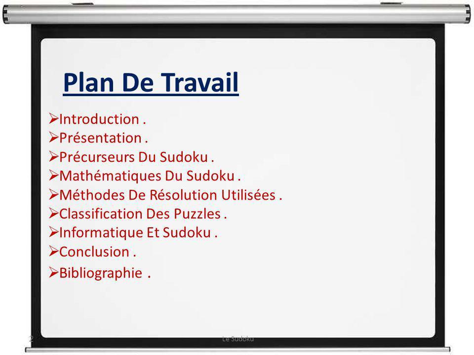 Plan De Travail : Introduction. Présentation. Précurseurs Du Sudoku. Mathématiques Du Sudoku. Méthodes De Résolution Utilisées. Classification Des Puz