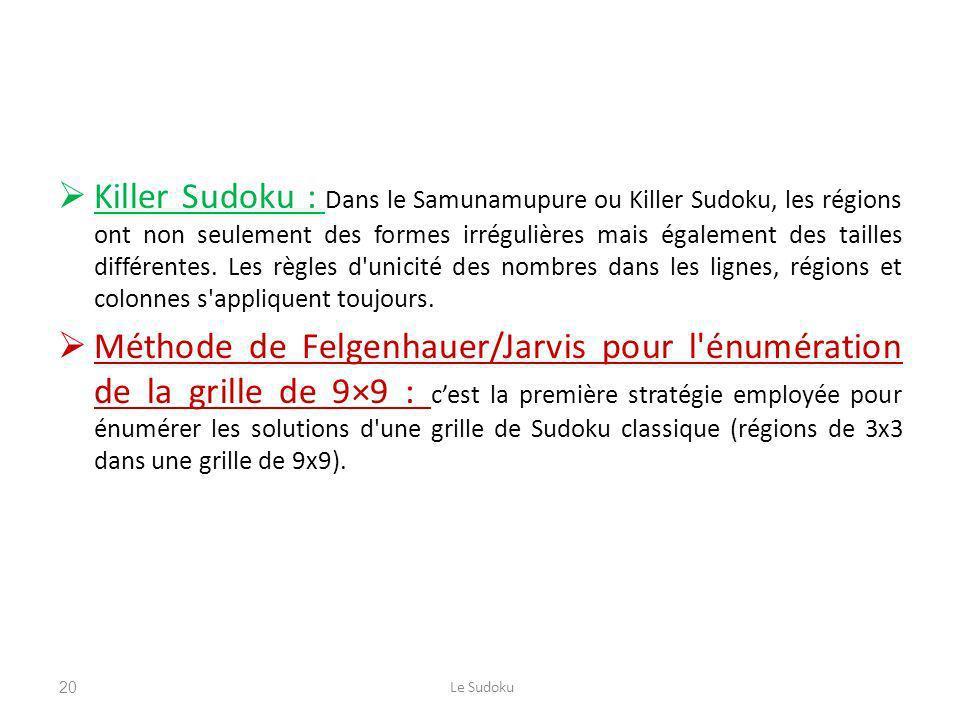 Killer Sudoku : Dans le Samunamupure ou Killer Sudoku, les régions ont non seulement des formes irrégulières mais également des tailles différentes. L