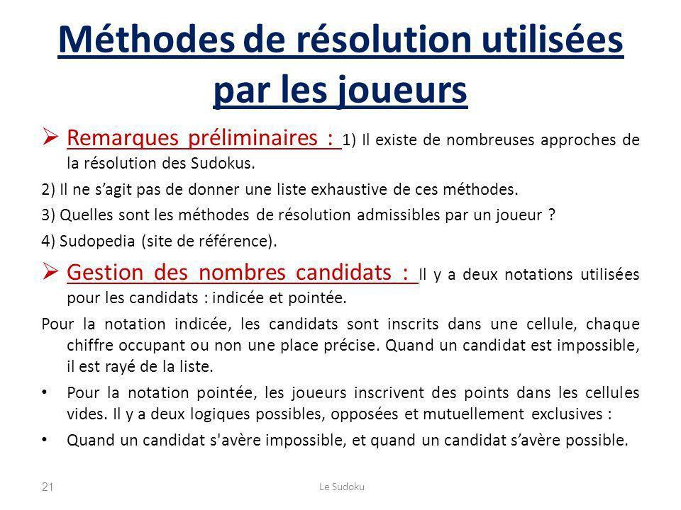Méthodes de résolution utilisées par les joueurs Remarques préliminaires : 1) Il existe de nombreuses approches de la résolution des Sudokus. 2) Il ne