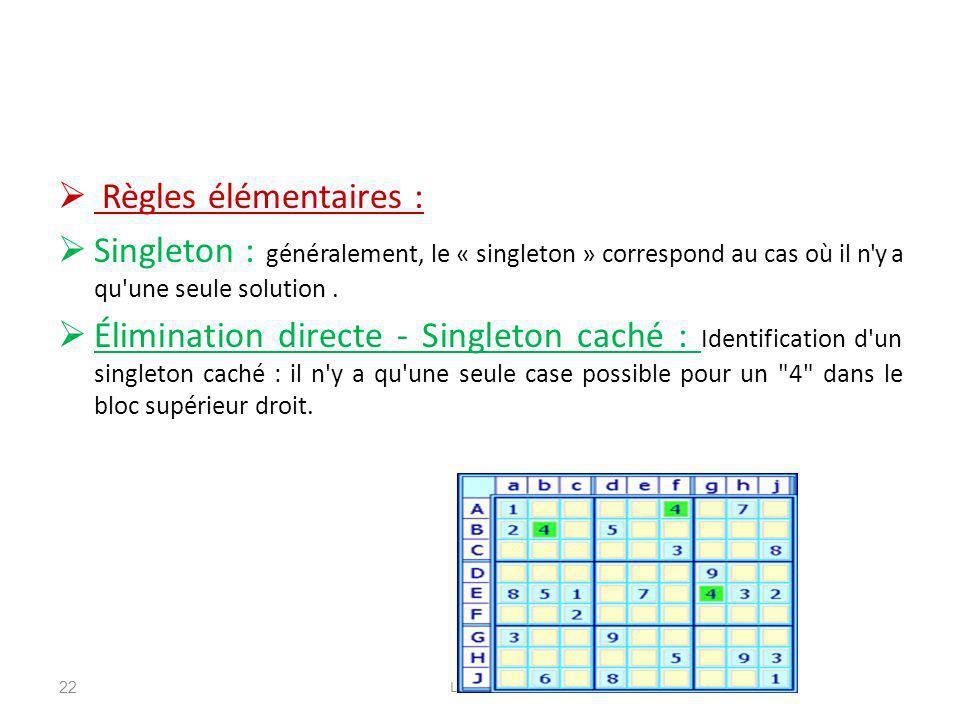 Règles élémentaires : Singleton : généralement, le « singleton » correspond au cas où il n'y a qu'une seule solution. Élimination directe - Singleton