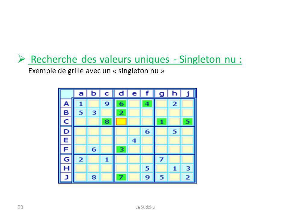 Recherche des valeurs uniques - Singleton nu : Exemple de grille avec un « singleton nu » Le Sudoku23