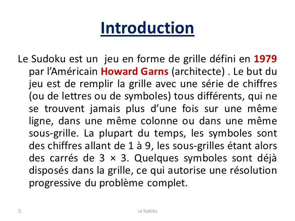 Introduction Le Sudoku est un jeu en forme de grille défini en 1979 par lAméricain Howard Garns (architecte). Le but du jeu est de remplir la grille a