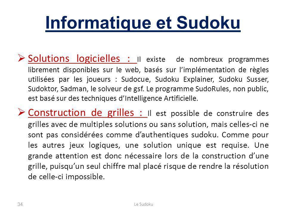 Informatique et Sudoku Solutions logicielles : Il existe de nombreux programmes librement disponibles sur le web, basés sur limplémentation de règles utilisées par les joueurs : Sudocue, Sudoku Explainer, Sudoku Susser, Sudoktor, Sadman, le solveur de gsf.