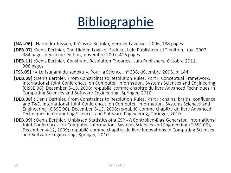 Bibliographie [NAJ.06] : Narendra Jussien, Précis de Sudoku, Hermès Lavoisier, 2006, 188 pages. [DEB.07] :Denis Berthier, The Hidden Logic of Sudoku,