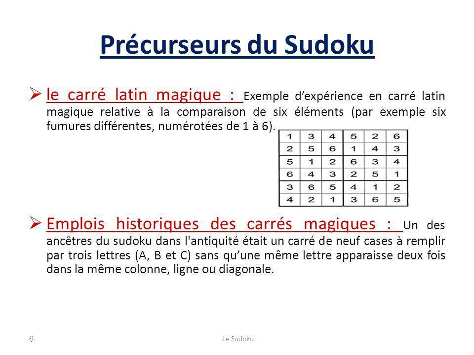 Précurseurs du Sudoku le carré latin magique : Exemple dexpérience en carré latin magique relative à la comparaison de six éléments (par exemple six fumures différentes, numérotées de 1 à 6).