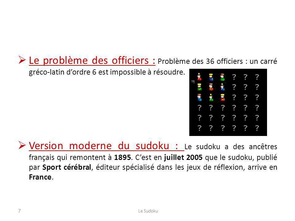 Le problème des officiers : Problème des 36 officiers : un carré gréco-latin dordre 6 est impossible à résoudre. Version moderne du sudoku : Le sudoku