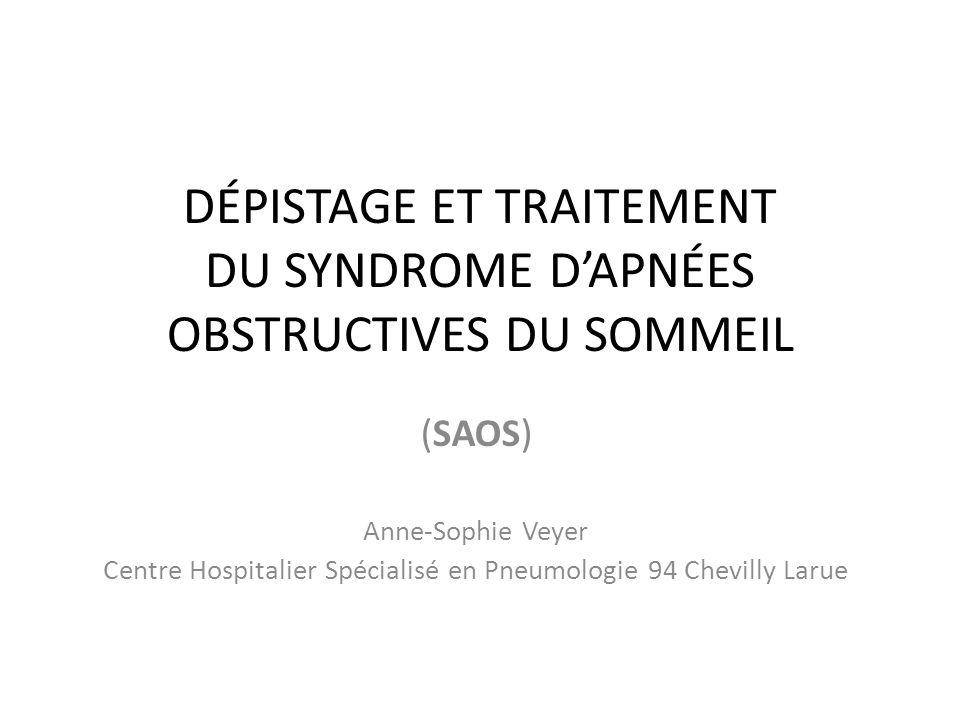 3- Prévalence des symptômes du syndrome d apnées du sommeil.