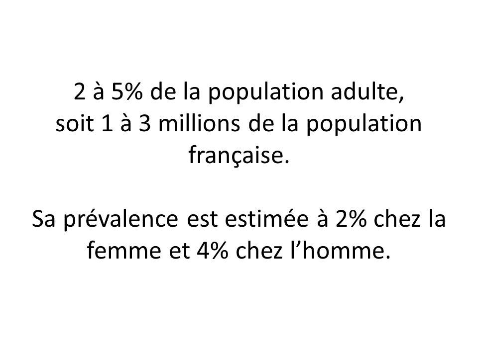 2 à 5% de la population adulte, soit 1 à 3 millions de la population française. Sa prévalence est estimée à 2% chez la femme et 4% chez lhomme.