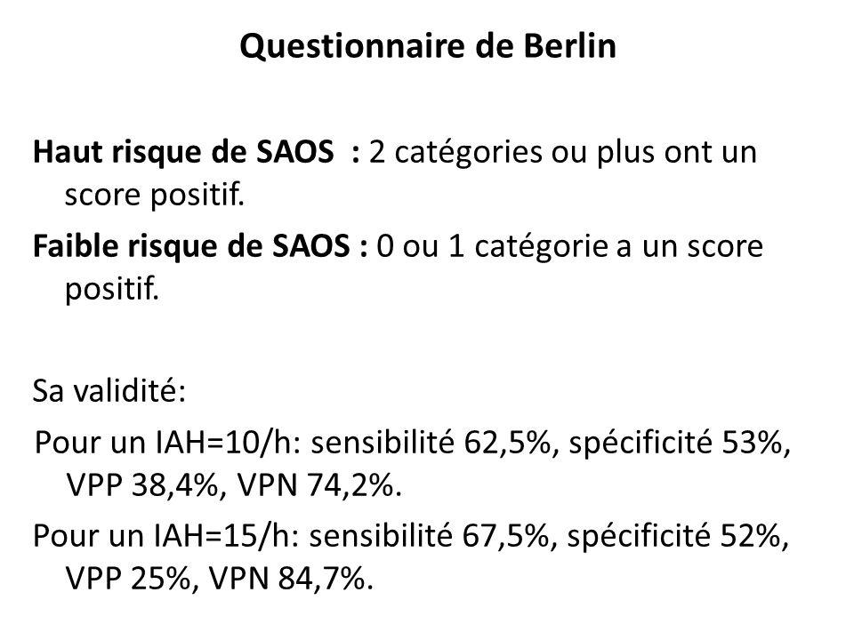 Questionnaire de Berlin Haut risque de SAOS : 2 catégories ou plus ont un score positif. Faible risque de SAOS : 0 ou 1 catégorie a un score positif.