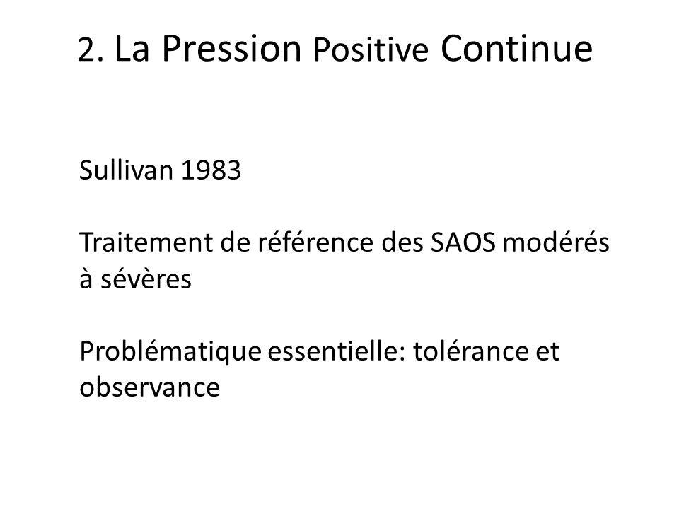 2. La Pression Positive Continue Sullivan 1983 Traitement de référence des SAOS modérés à sévères Problématique essentielle: tolérance et observance